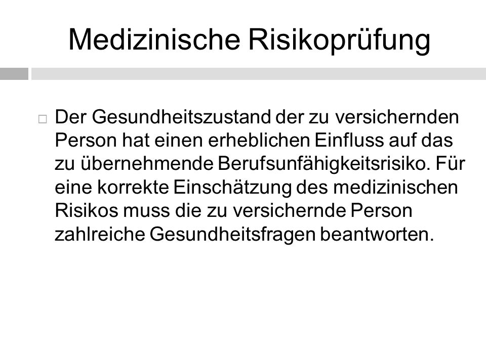 Medizinische Risikoprüfung