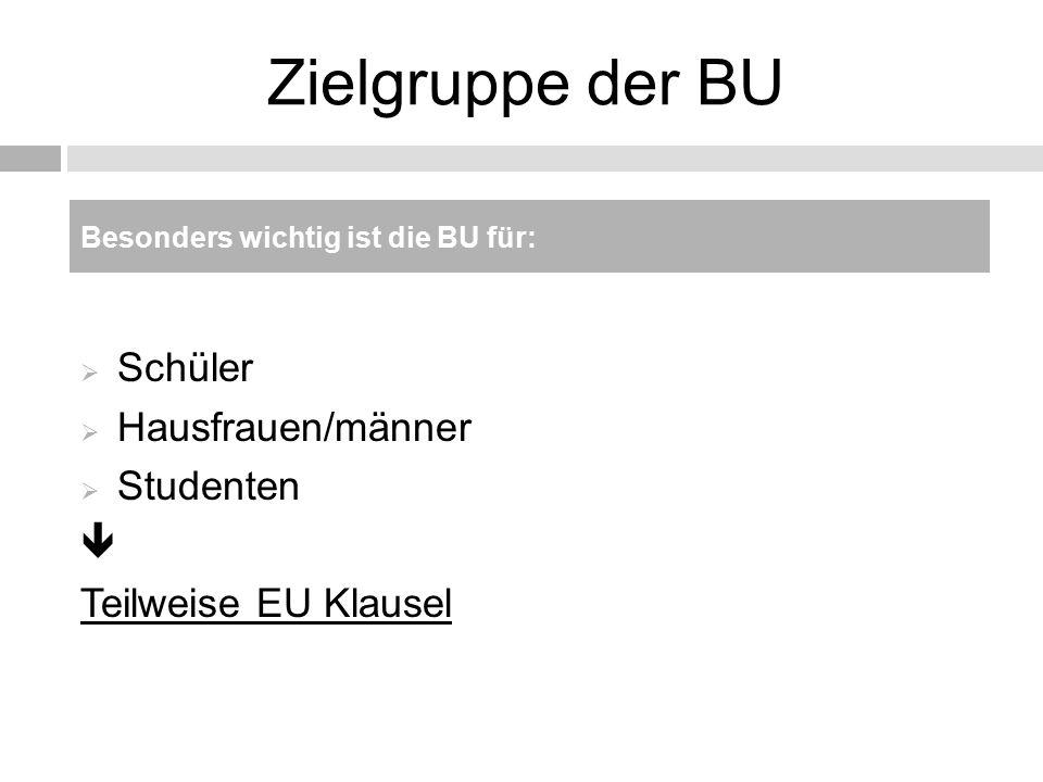 Zielgruppe der BU Schüler Hausfrauen/männer Studenten 