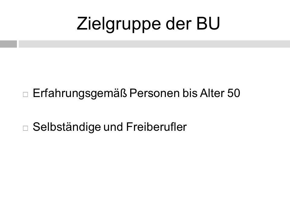 Zielgruppe der BU Erfahrungsgemäß Personen bis Alter 50