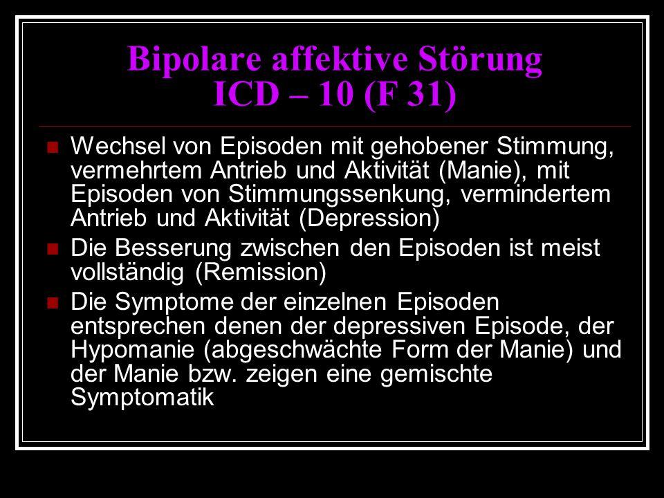 Bipolare affektive Störung ICD – 10 (F 31)
