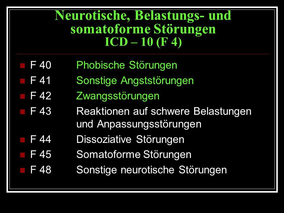 Neurotische, Belastungs- und somatoforme Störungen ICD – 10 (F 4)