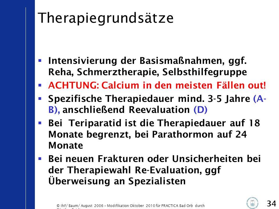 Therapiegrundsätze Intensivierung der Basismaßnahmen, ggf. Reha, Schmerztherapie, Selbsthilfegruppe.