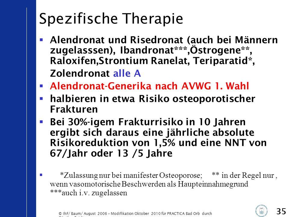 Spezifische Therapie Alendronat und Risedronat (auch bei Männern zugelasssen), Ibandronat***,Östrogene**, Raloxifen,Strontium Ranelat, Teriparatid*,