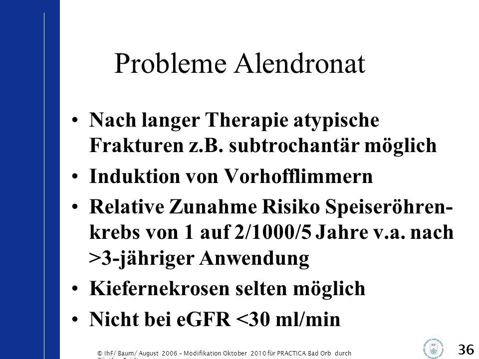 Probleme Alendronat Nach langer Therapie atypische Frakturen z.B. subtrochantär möglich. Induktion von Vorhofflimmern.