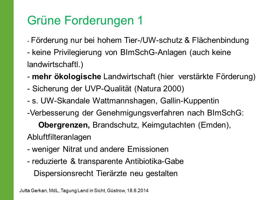 Grüne Forderungen 1 - Förderung nur bei hohem Tier-/UW-schutz & Flächenbindung.