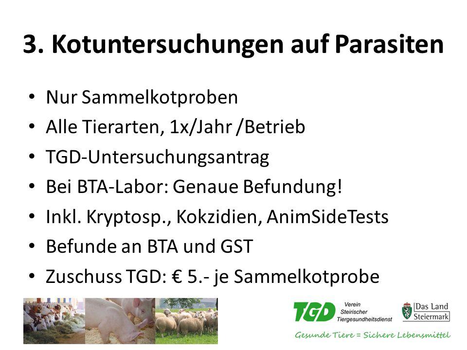 3. Kotuntersuchungen auf Parasiten