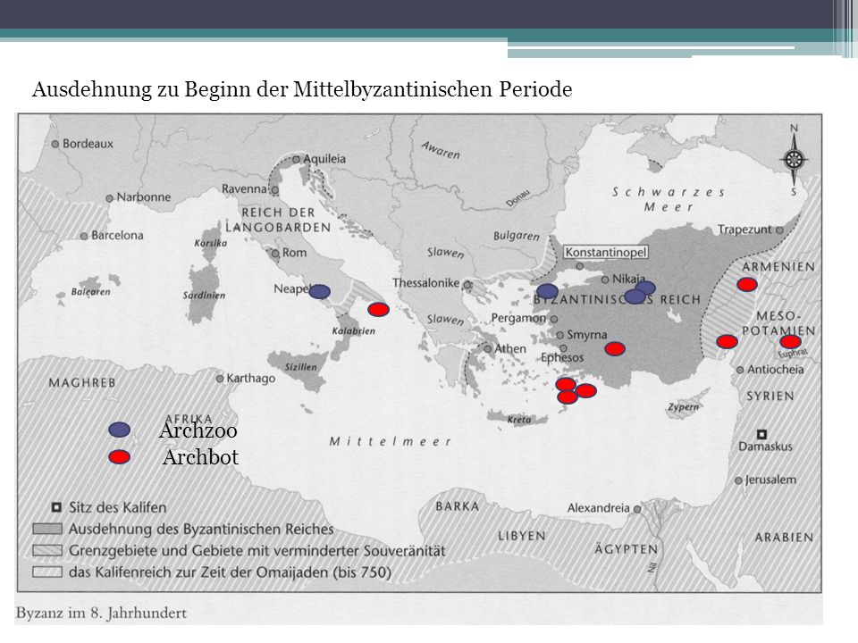 Beginn Mittel Ausdehnung zu Beginn der Mittelbyzantinischen Periode