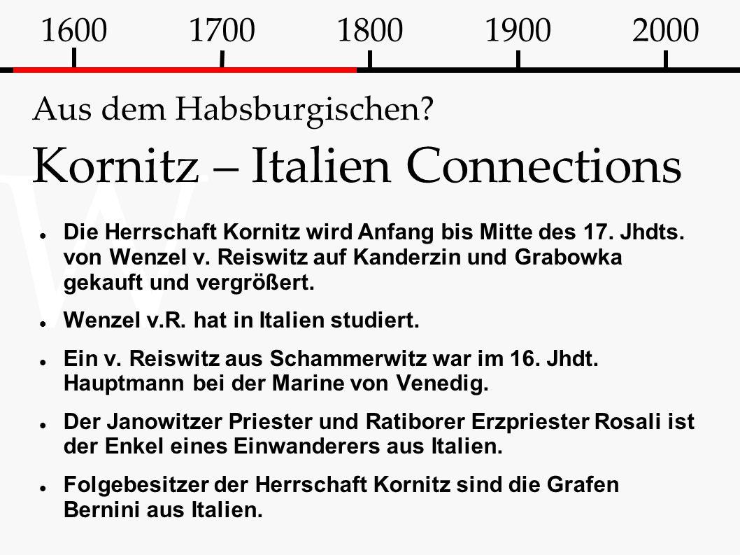 Aus dem Habsburgischen Kornitz – Italien Connections