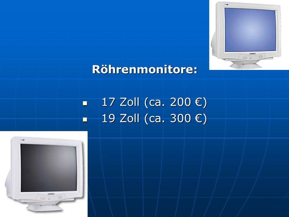 Röhrenmonitore: 17 Zoll (ca. 200 €) 19 Zoll (ca. 300 €)