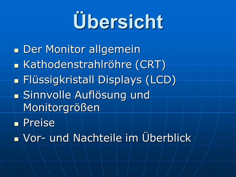 Übersicht Der Monitor allgemein Kathodenstrahlröhre (CRT)