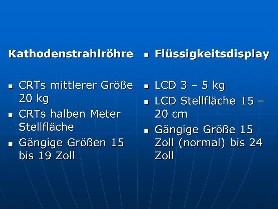 Kathodenstrahlröhre CRTs mittlerer Größe 20 kg. CRTs halben Meter Stellfläche. Gängige Größen 15 bis 19 Zoll.