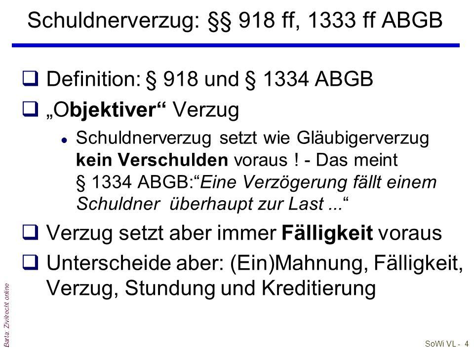 Schuldnerverzug: §§ 918 ff, 1333 ff ABGB