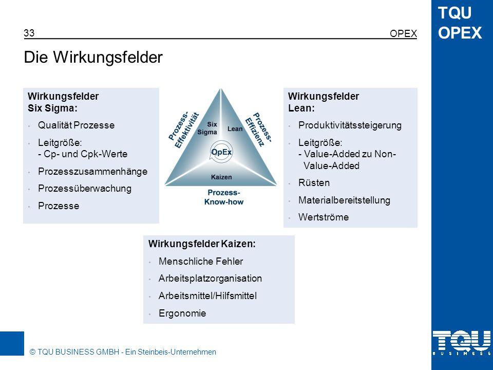 Die Wirkungsfelder Opex Wirkungsfelder Six Sigma: Qualität Prozesse