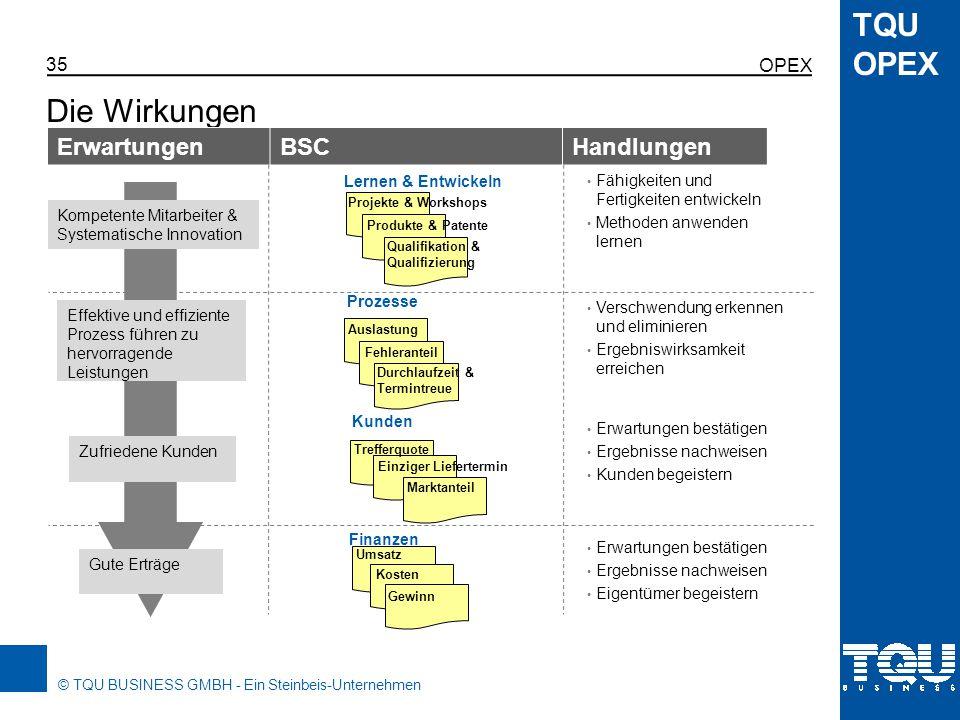 Die Wirkungen Erwartungen BSC Handlungen OPEX Lernen & Entwickeln