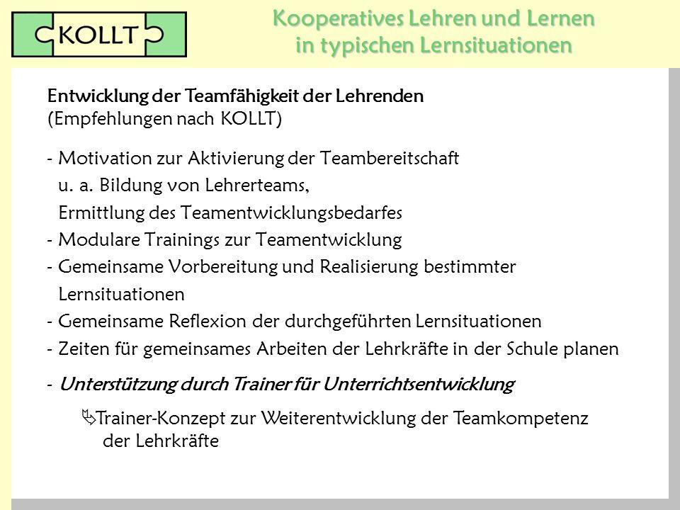 Kooperatives Lehren und Lernen in typischen Lernsituationen