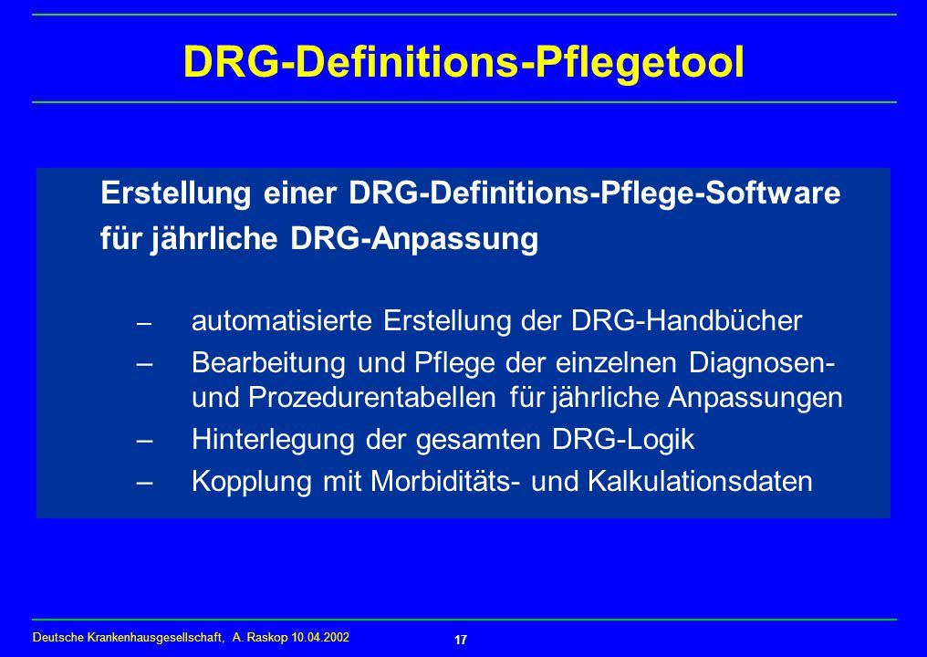 DRG-Definitions-Pflegetool