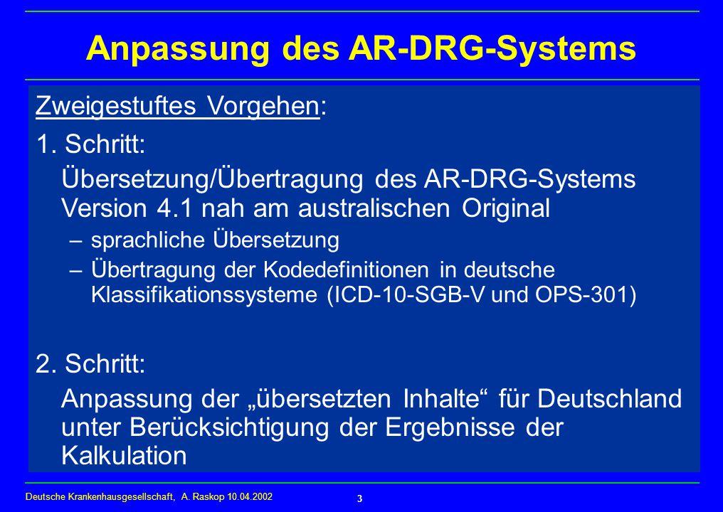 Anpassung des AR-DRG-Systems