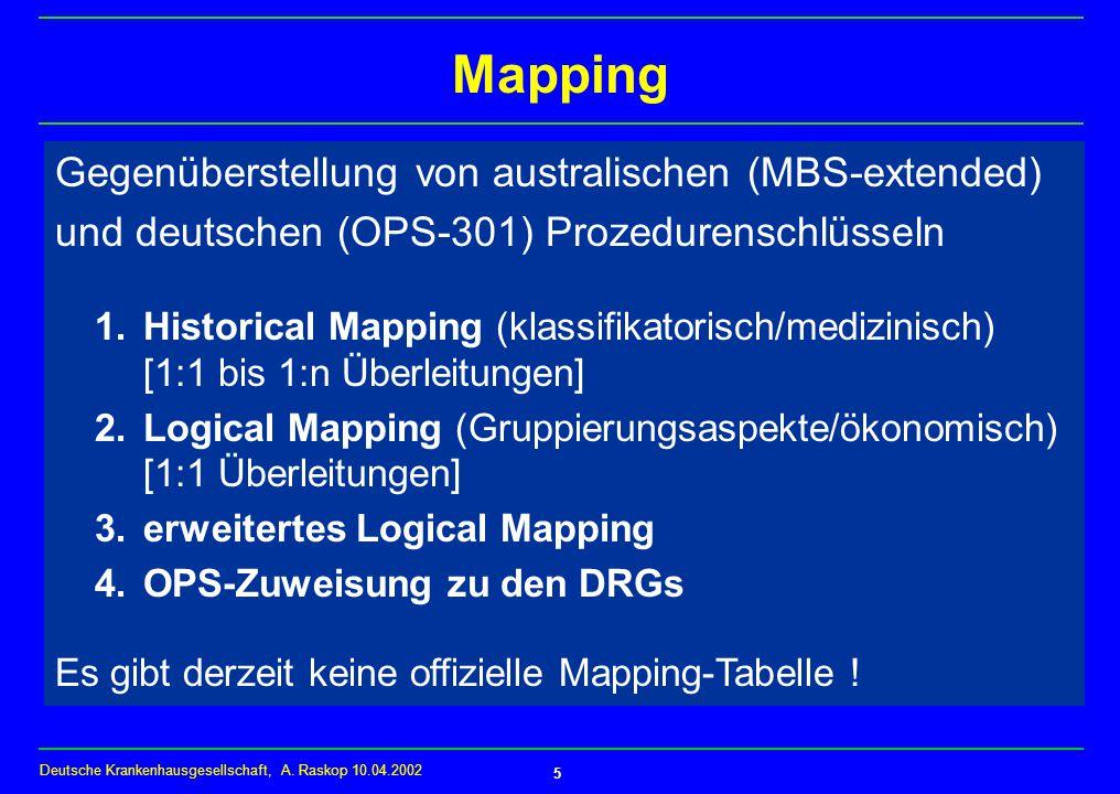 Mapping Gegenüberstellung von australischen (MBS-extended)