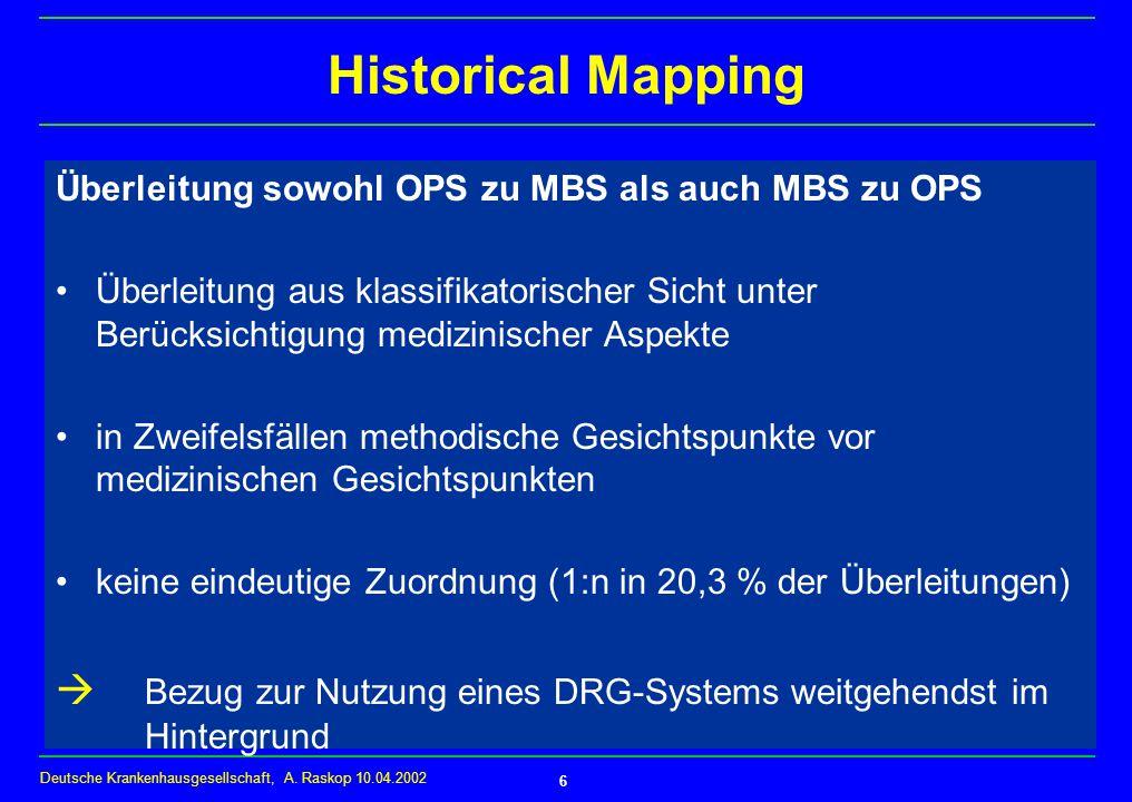 Historical Mapping Überleitung sowohl OPS zu MBS als auch MBS zu OPS.