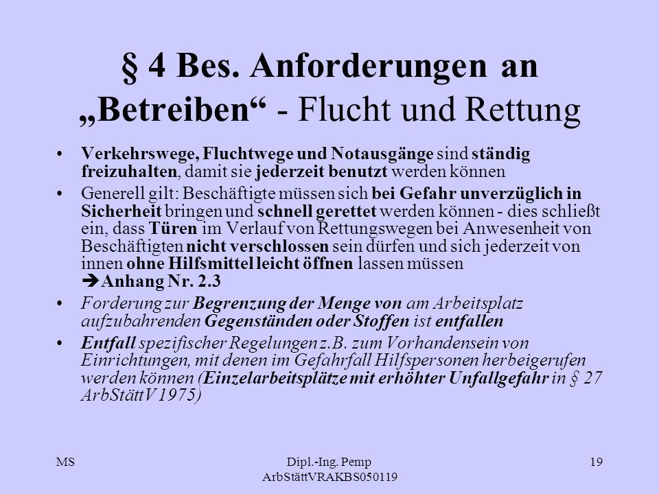 """§ 4 Bes. Anforderungen an """"Betreiben - Flucht und Rettung"""