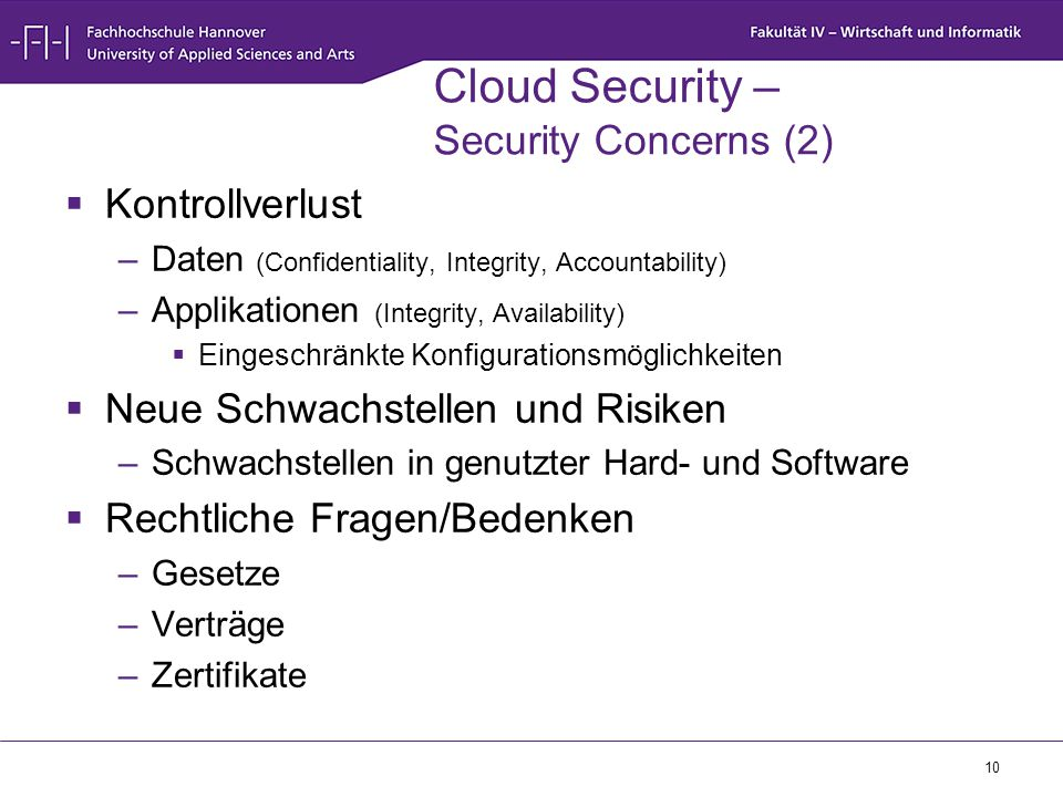 Cloud Security – Security Concerns (2)