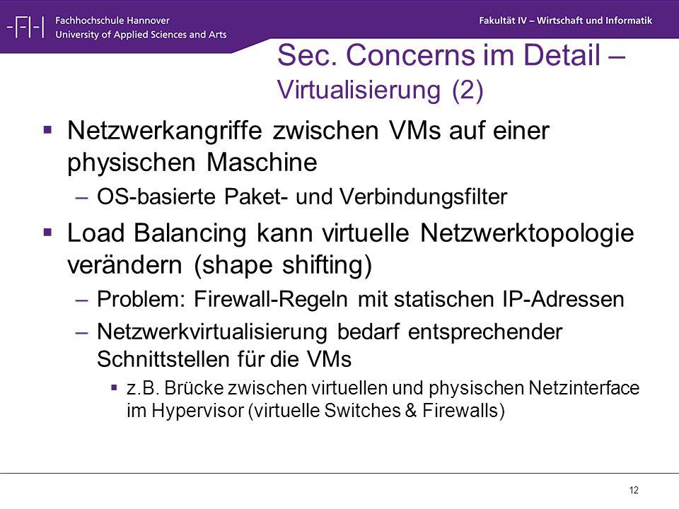 Sec. Concerns im Detail – Virtualisierung (2)