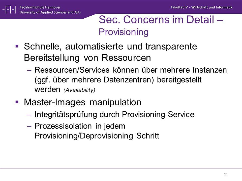 Sec. Concerns im Detail – Provisioning