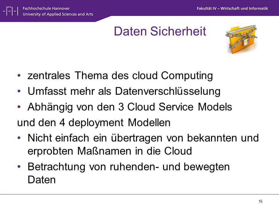 Daten Sicherheit zentrales Thema des cloud Computing