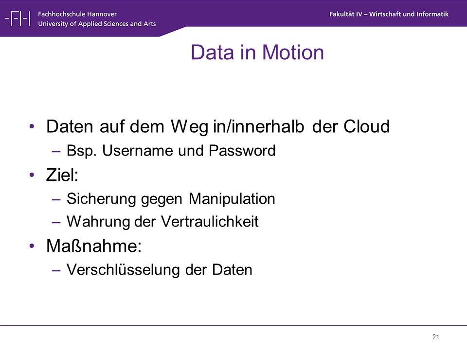 Data in Motion Daten auf dem Weg in/innerhalb der Cloud Ziel: