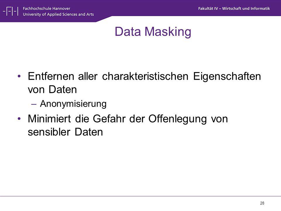 Data Masking Entfernen aller charakteristischen Eigenschaften von Daten. Anonymisierung. Minimiert die Gefahr der Offenlegung von sensibler Daten.