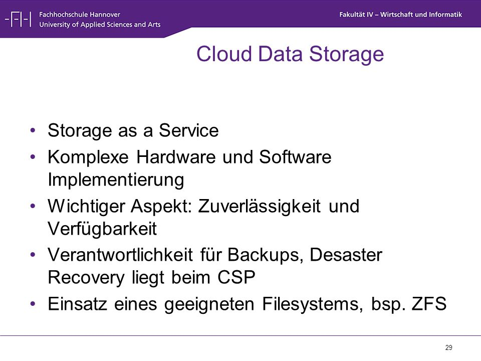 Cloud Data Storage Storage as a Service
