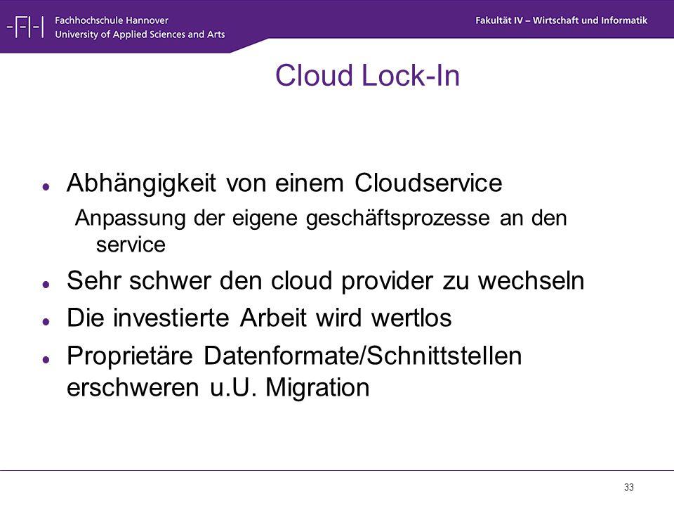 Cloud Lock-In Abhängigkeit von einem Cloudservice
