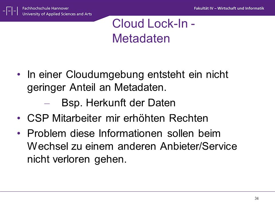 Cloud Lock-In - Metadaten