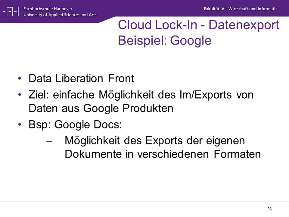 Cloud Lock-In - Datenexport Beispiel: Google