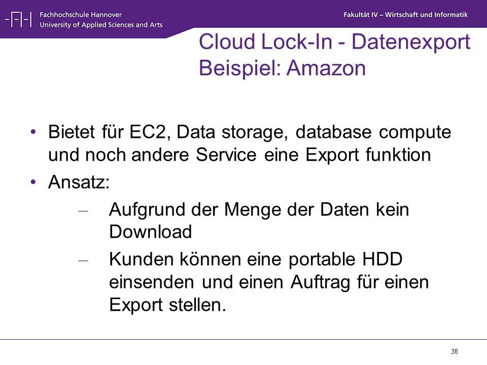 Cloud Lock-In - Datenexport Beispiel: Amazon
