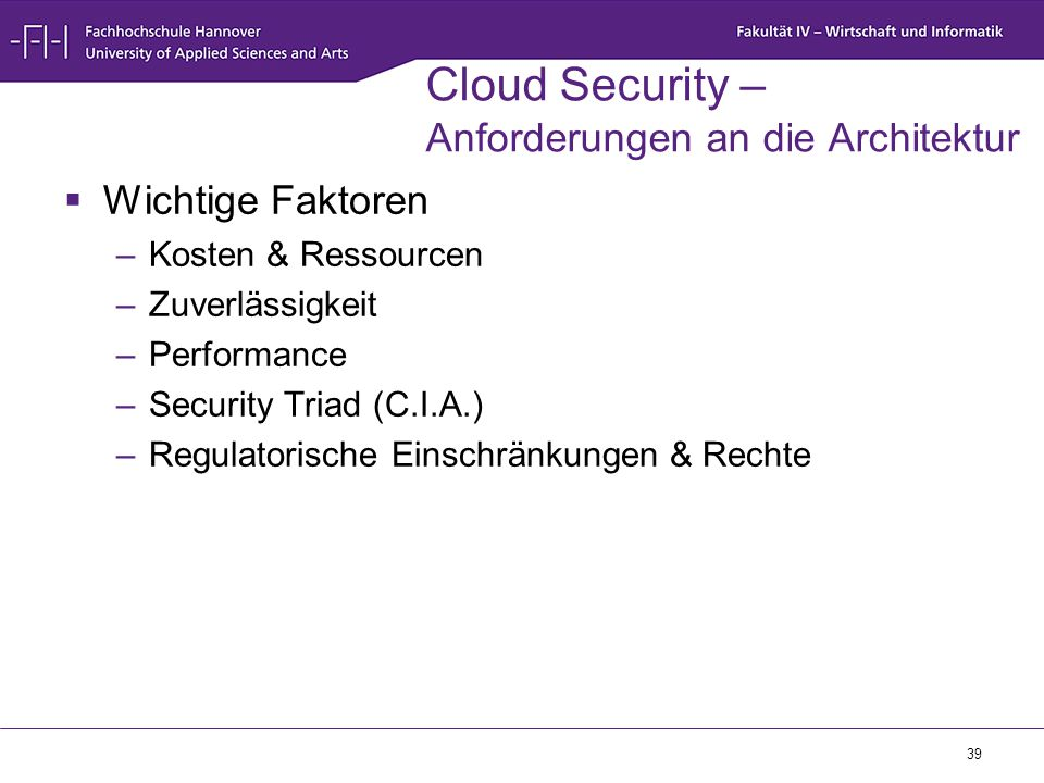 Cloud Security – Anforderungen an die Architektur