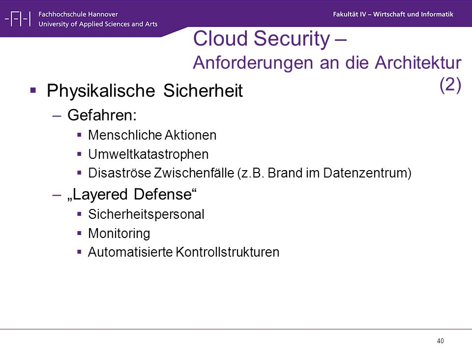 Cloud Security – Anforderungen an die Architektur (2)