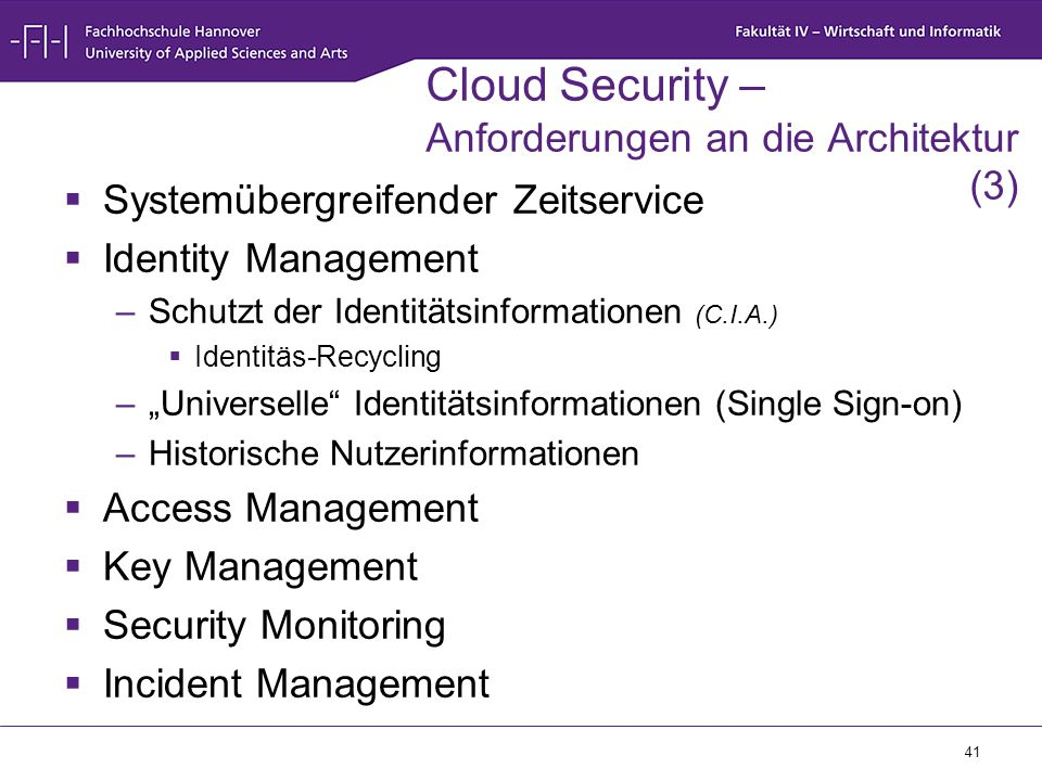 Cloud Security – Anforderungen an die Architektur (3)