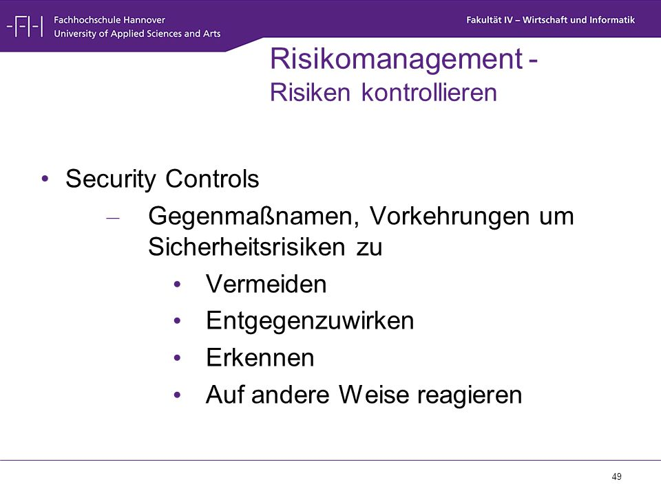 Risikomanagement - Risiken kontrollieren