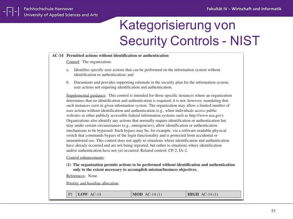 Kategorisierung von Security Controls - NIST