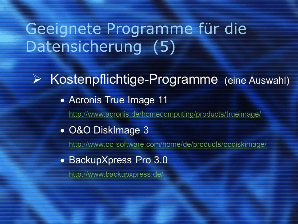 Geeignete Programme für die Datensicherung (5)