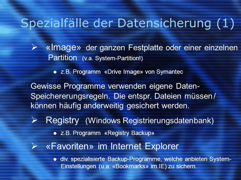 Spezialfälle der Datensicherung (1)