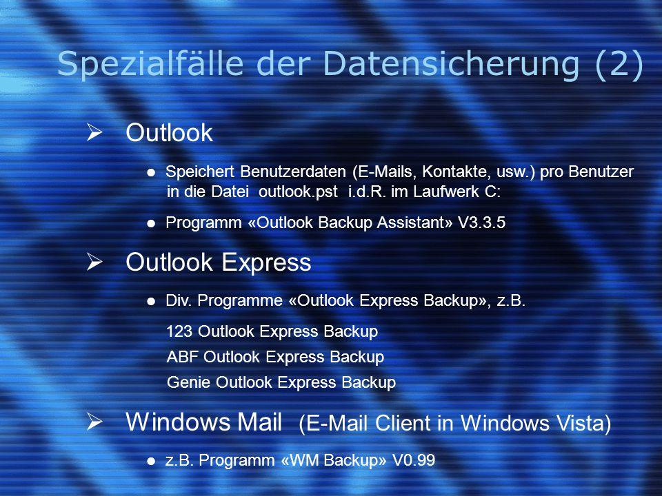 Spezialfälle der Datensicherung (2)