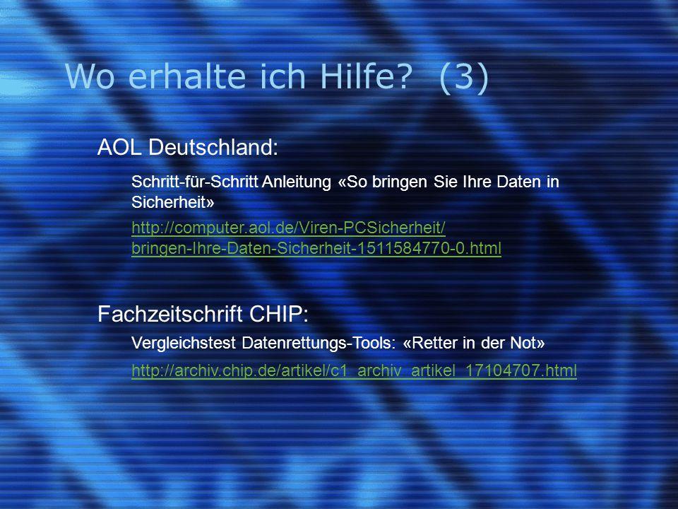 Wo erhalte ich Hilfe (3) AOL Deutschland: