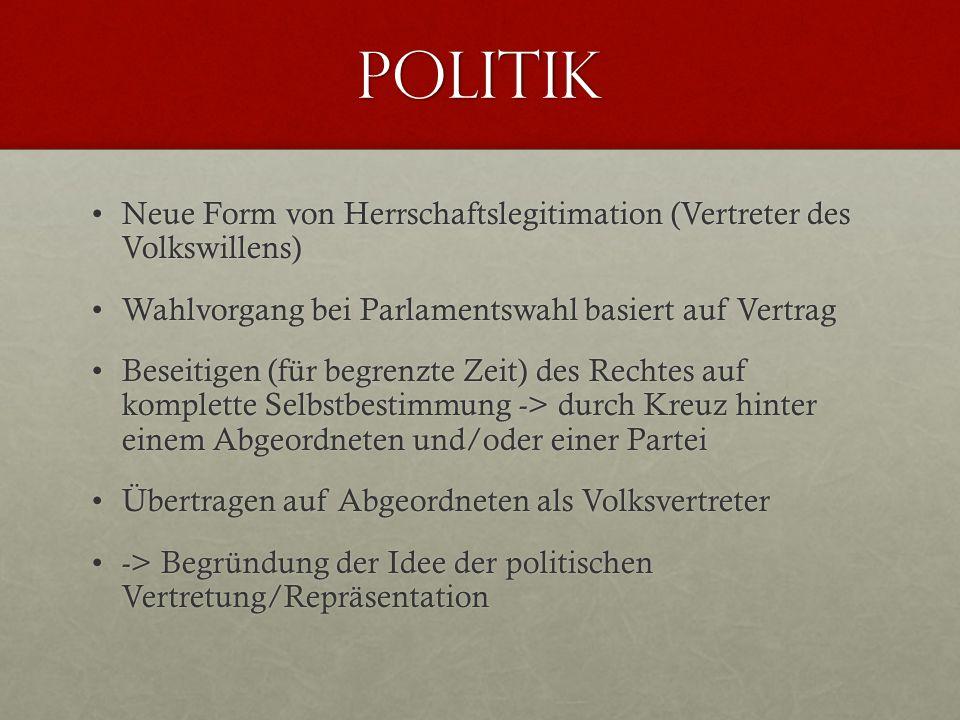 Politik Neue Form von Herrschaftslegitimation (Vertreter des Volkswillens) Wahlvorgang bei Parlamentswahl basiert auf Vertrag.