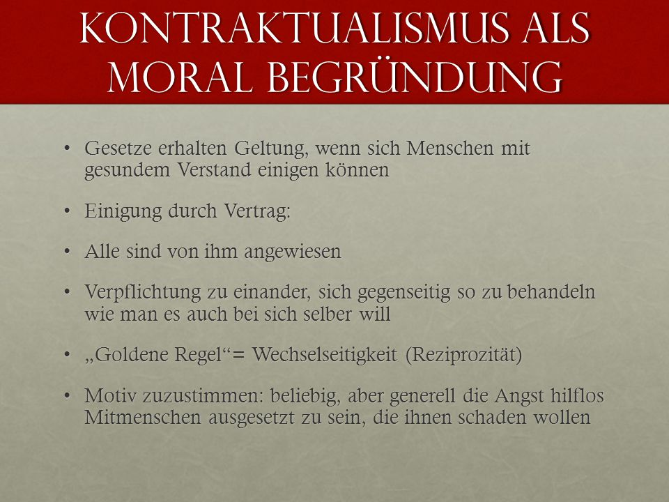 Kontraktualismus als Moral Begründung