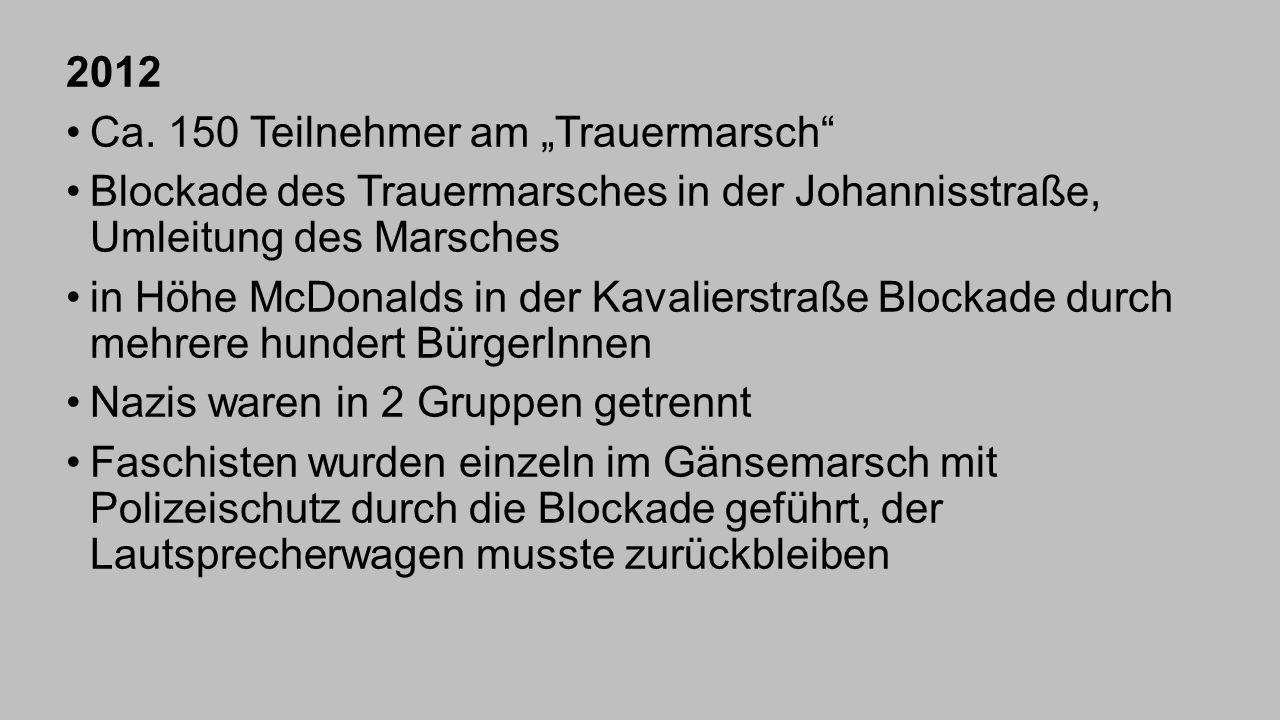 """2012 Ca. 150 Teilnehmer am """"Trauermarsch Blockade des Trauermarsches in der Johannisstraße, Umleitung des Marsches."""