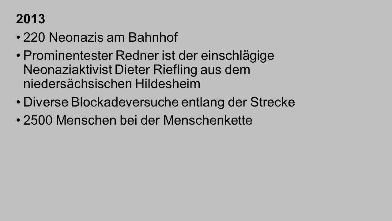 2013 220 Neonazis am Bahnhof. Prominentester Redner ist der einschlägige Neonaziaktivist Dieter Riefling aus dem niedersächsischen Hildesheim.
