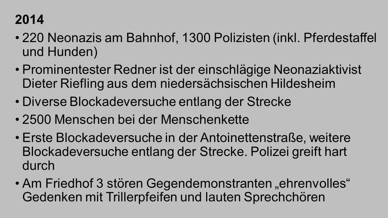 2014 220 Neonazis am Bahnhof, 1300 Polizisten (inkl. Pferdestaffel und Hunden)