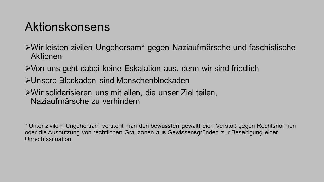 Aktionskonsens Wir leisten zivilen Ungehorsam* gegen Naziaufmärsche und faschistische Aktionen.